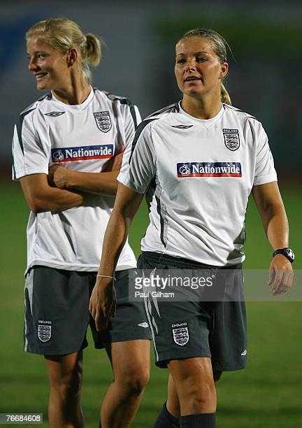 Rachel Unitt and Katie Chapman of England look on during an England training session ahead of the FIFA 2007 World Cup in China at Shanghai Songjiang...