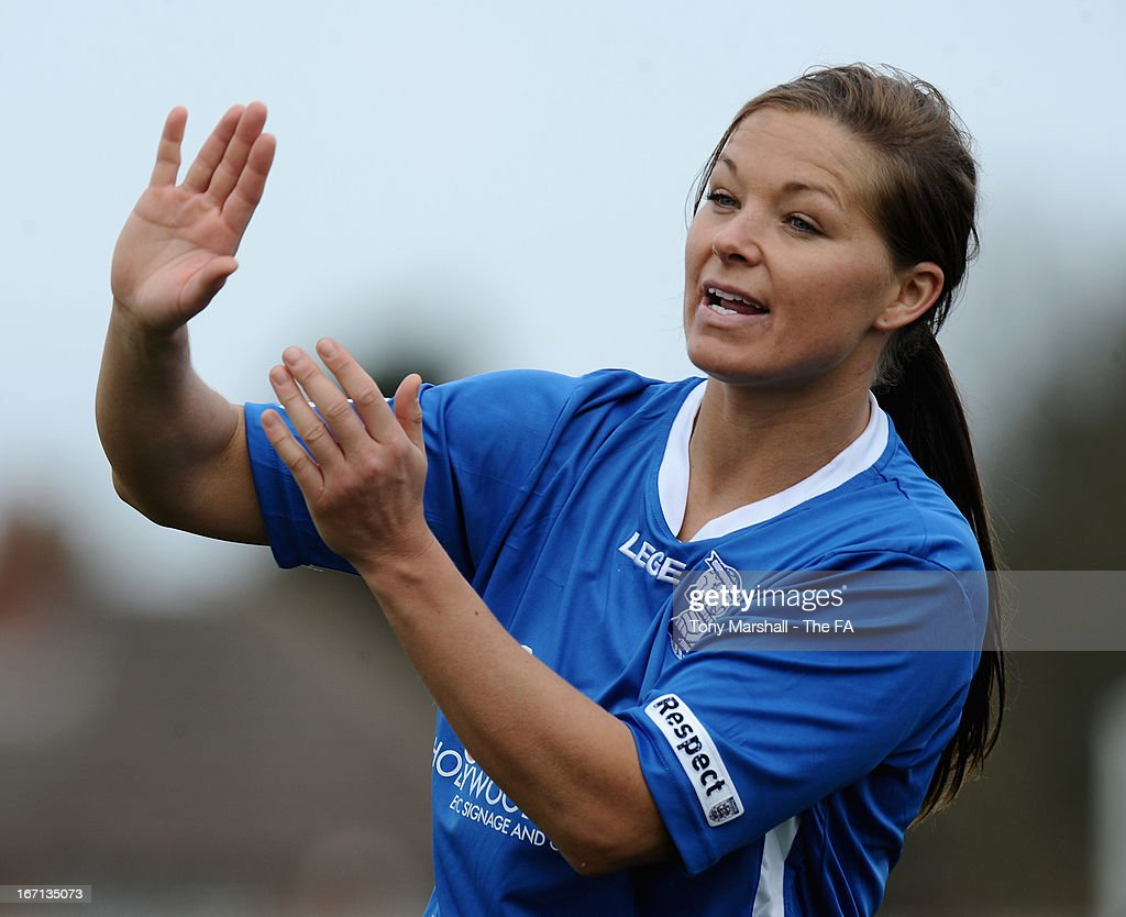 <a gi-track='captionPersonalityLinkClicked' href=/galleries/search?phrase=Rachel+Unitt&family=editorial&specificpeople=2333335 ng-click='$event.stopPropagation()'>Rachel Unitt</a> of Birmingham City gestures during the FA Women's Super League match between Birmingham City Ladies FC and Lincoln Ladies FC at DCS Stadium, Stratford Town FC on April 21, 2013 in Stratford, England.