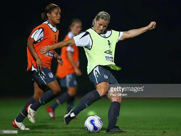 Rachel Unitt of England battles for the ball with Alex Scott of England during an England training session ahead of the FIFA 2007 World Cup in China...