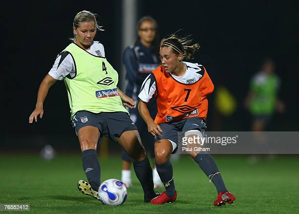 Rachel Unitt of England battles for the ball with Fara Williams of England during an England training session ahead of the FIFA 2007 World Cup in...