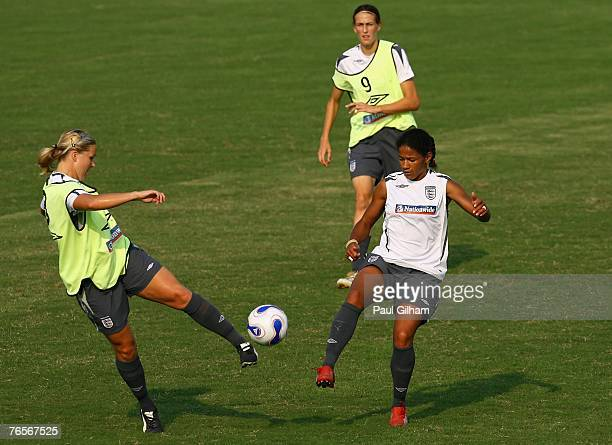 Rachel Unitt of England battles for the ball with Mary Phillip of England during an England training session ahead of the FIFA 2007 World Cup in...