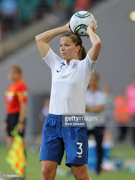 Rachel Unitt of England does a throwin during the FIFA Women's World Cup Group B match between Mexico and England at Arena im Allerpark on June 27...