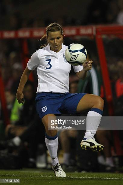 Rachel Unitt of England during the England v Slovenia UEFA Women's Euro 2013 qualifying match at the County Ground on September 22 2011 in London...