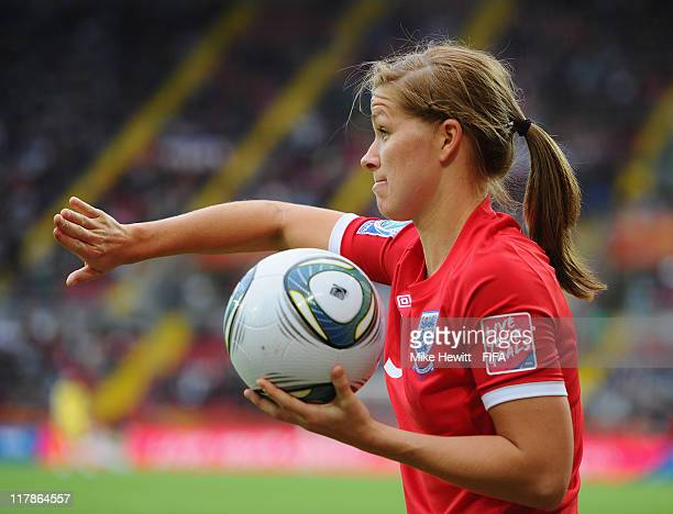 Rachel Unitt of England in action during the FIFA Women's World Cup 2011 Group B match between New Zealand and England at Rudolf Harbig Stadium on...