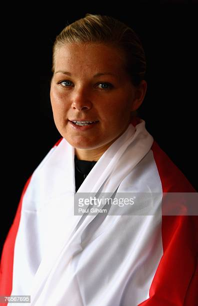 Rachel Unitt of England poses at the team hotel prior to an England training session ahead of the FIFA 2007 World Cup in China at Shanghai Songjiang...
