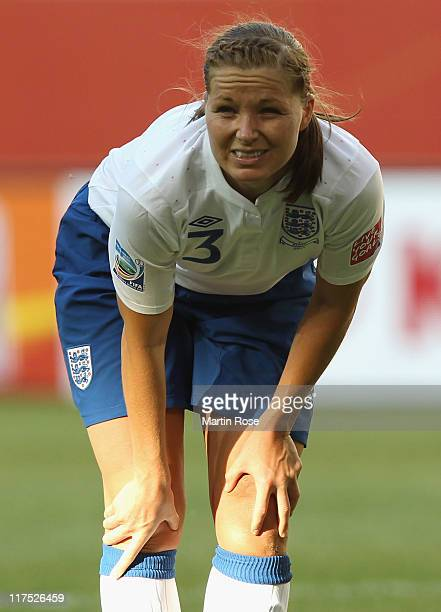 Rachel Unitt of England reacts during the FIFA Women's World Cup 2011 Group B match between Mexico and England at Wolfsburg Arena on June 27 2011 in...