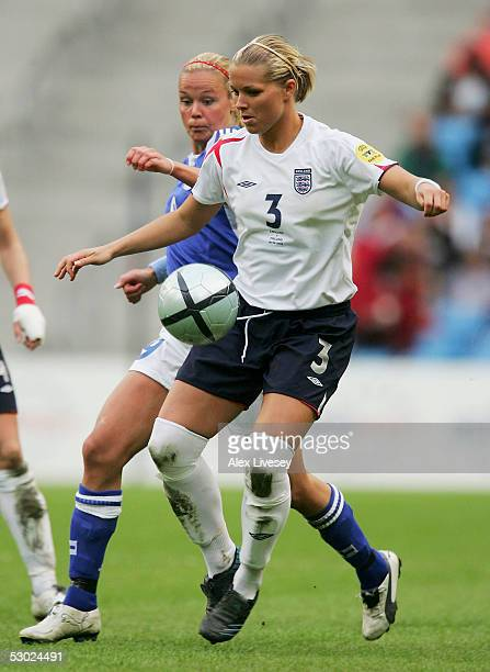 Rachel Unitt of England shields the ball from Laura Kalmari of Finland during the Women's UEFA European Championship 2005 Group A game between...