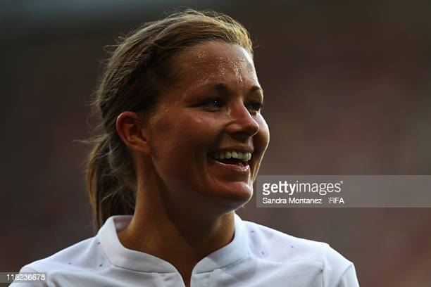 Rachel Unitt of England smiles during the FIFA Women's World Cup Group B match between England and Japan at FIFA World Cup stadium Augsburg on July 5...