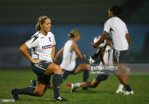 Rachel Unitt of England warms up during an England training session ahead of the FIFA 2007 World Cup in China at Shanghai Songjiang Stadium on...