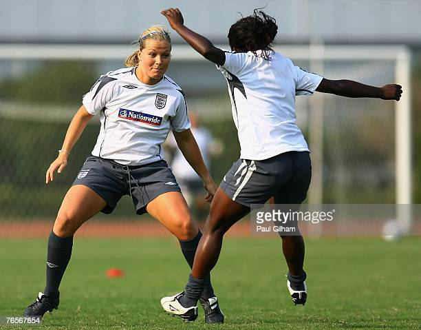 Rachel Unitt of England warms up with Eniola Aluko during an England training session ahead of the FIFA 2007 World Cup in China at Shanghai Songjiang...