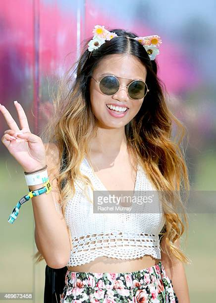 Rachel Vernez of Los Angeles wearing a crochet halter and accessories from Forever 21 during the Coachella Valley Music and Arts Festival Weekend 1...