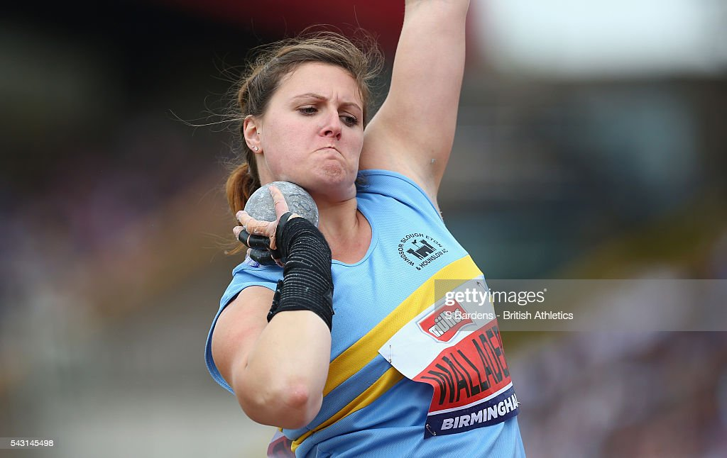 Rachel Wallader of Great Britain competes in the women's shot putt final on day three of the British Championships Birmingham at Alexander Stadium on June 26, 2016 in Birmingham, England.