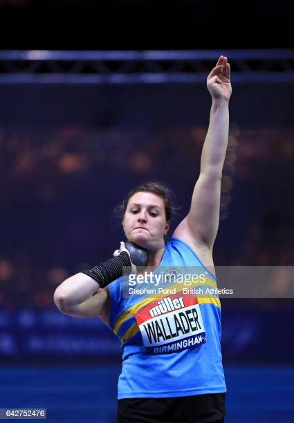 Rachel Wallader of Great Britain in the womens shot put during the Muller Indoor Grand Prix 2017 at the Barclaycard Arena on February 18 2017 in...