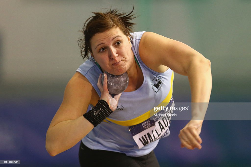 Rachel Wallader on her way to victory in the women's shot put final during day one of the British Athletics European Trials & UK Championship at the English Institute of Sport on February 9, 2013 in Sheffield, England.