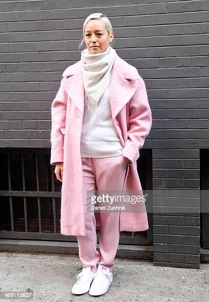 Rachel Wang is seen outside the Jeremy Scott show on February 12 2014 in New York City