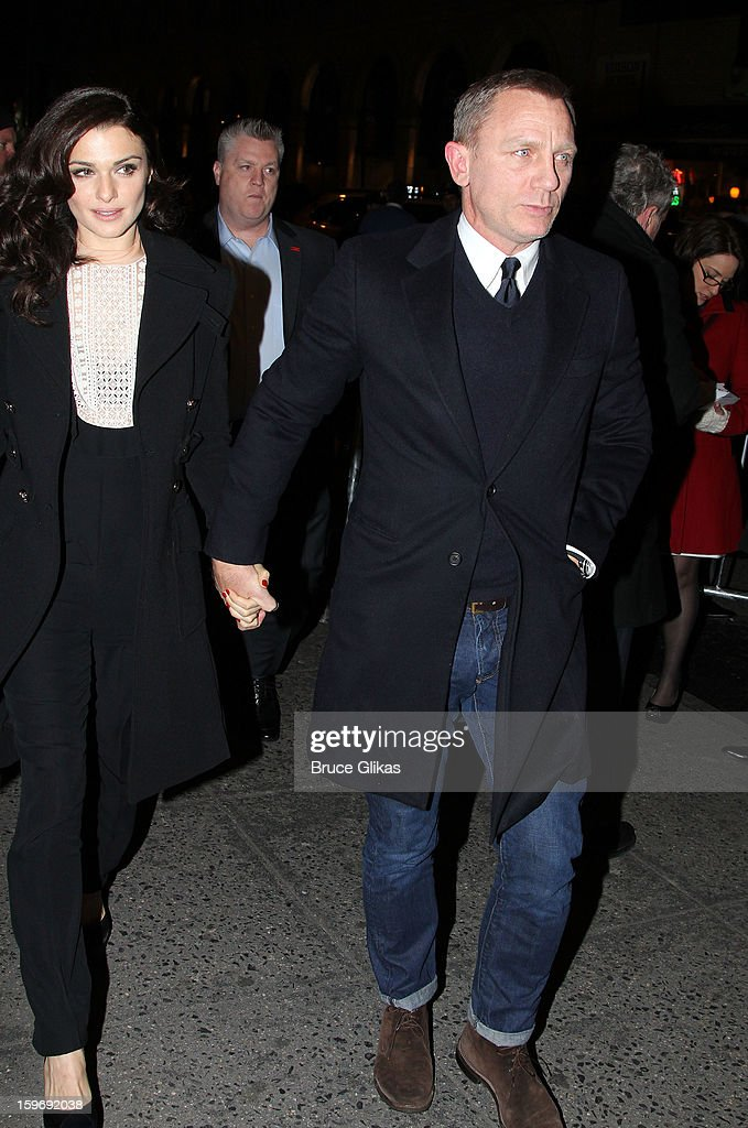 <a gi-track='captionPersonalityLinkClicked' href=/galleries/search?phrase=Rachel+Weisz&family=editorial&specificpeople=204656 ng-click='$event.stopPropagation()'>Rachel Weisz</a> and Daniel Craig attend the Broadway opening night of 'Cat On A Hot Tin Roof' at The Richard Rodgers Theatre on January 17, 2013 in New York City.