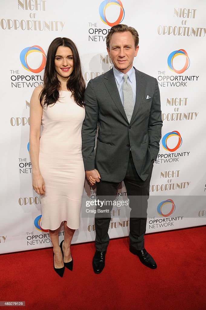 <a gi-track='captionPersonalityLinkClicked' href=/galleries/search?phrase=Rachel+Weisz&family=editorial&specificpeople=204656 ng-click='$event.stopPropagation()'>Rachel Weisz</a> and Daniel Craig attend The Opportunity Networks 7th Annual Night of Opportunity at Cipriani Wall Street on April 7, 2014 in New York City.