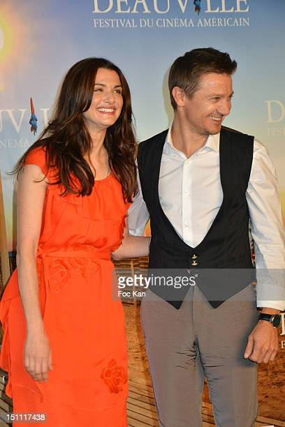 Rachel Weisz and Jeremy Renner pose during 'The Bourne Legacy' Photocall at the 38th Deauville American Film Festival at the CID on September 1...