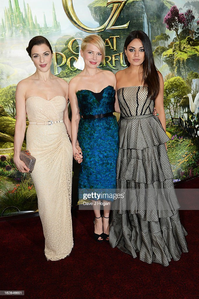 <a gi-track='captionPersonalityLinkClicked' href=/galleries/search?phrase=Rachel+Weisz&family=editorial&specificpeople=204656 ng-click='$event.stopPropagation()'>Rachel Weisz</a>, Michelle Williams and <a gi-track='captionPersonalityLinkClicked' href=/galleries/search?phrase=Mila+Kunis&family=editorial&specificpeople=212845 ng-click='$event.stopPropagation()'>Mila Kunis</a> attend the European premiere of Oz: The Great And Powerful at The Empire Leicester Square on February 28, 2013 in London, England.