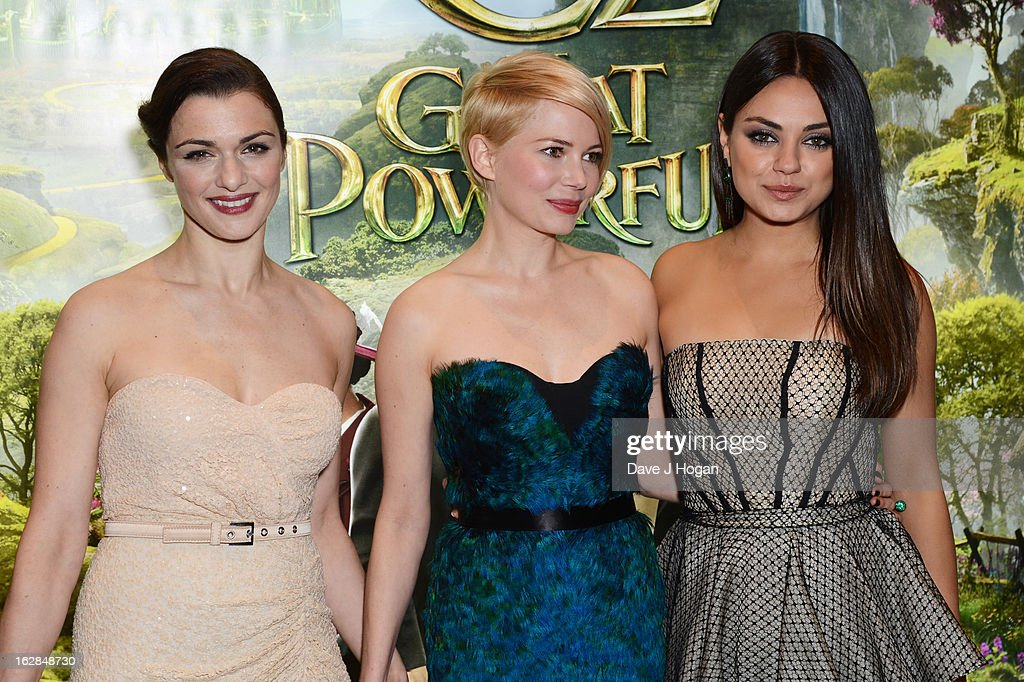 Rachel Weisz, Michelle Williams and Mila Kunis attend the European premiere of Oz: The Great And Powerful at The Empire Leicester Square on February 28, 2013 in London, England.