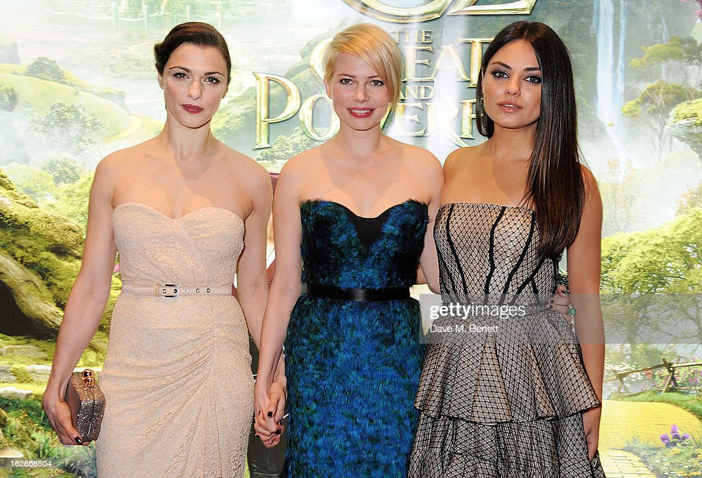 Rachel Weisz, Michelle Williams and Mila Kunis attend the European Premiere of 'Oz: The Great and Powerful' at Empire Leicester Square on February 28, 2013 in London, England.