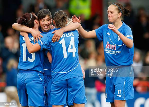 Rachel Williams celebrates her goal for Birmingham City Ladies FC during the Women's FA Cup Semi Final match between Birmingham City Ladies FC and...