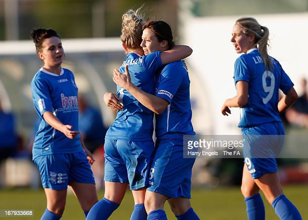 Rachel Williams of Birmingham City Ladies FC is congratulated by teammates after scoring her side's first goal during the FA WSL Continental Cup...