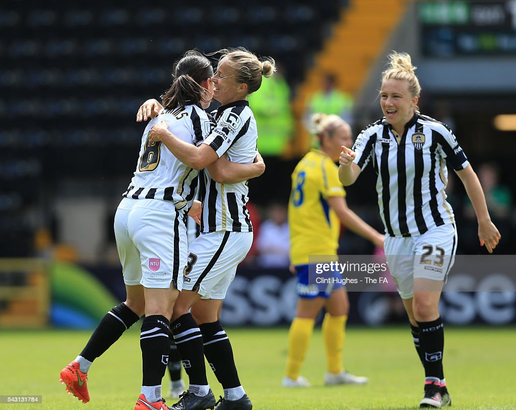 <a gi-track='captionPersonalityLinkClicked' href=/galleries/search?phrase=Rachel+Williams+-+Soccer+Player&family=editorial&specificpeople=7901324 ng-click='$event.stopPropagation()'>Rachel Williams</a> (L) of Notts County Ladies FC celebrates with team-mate Aivi Luik (C) and <a gi-track='captionPersonalityLinkClicked' href=/galleries/search?phrase=Laura+Bassett&family=editorial&specificpeople=5984733 ng-click='$event.stopPropagation()'>Laura Bassett</a> after she scores the first goal of the game for her side during the FA WSL 1 match between Notts County Ladies FC and Doncaster Rovers Belles at the Meadow Lane Stadium on June 26, 2016 in Nottingham, England