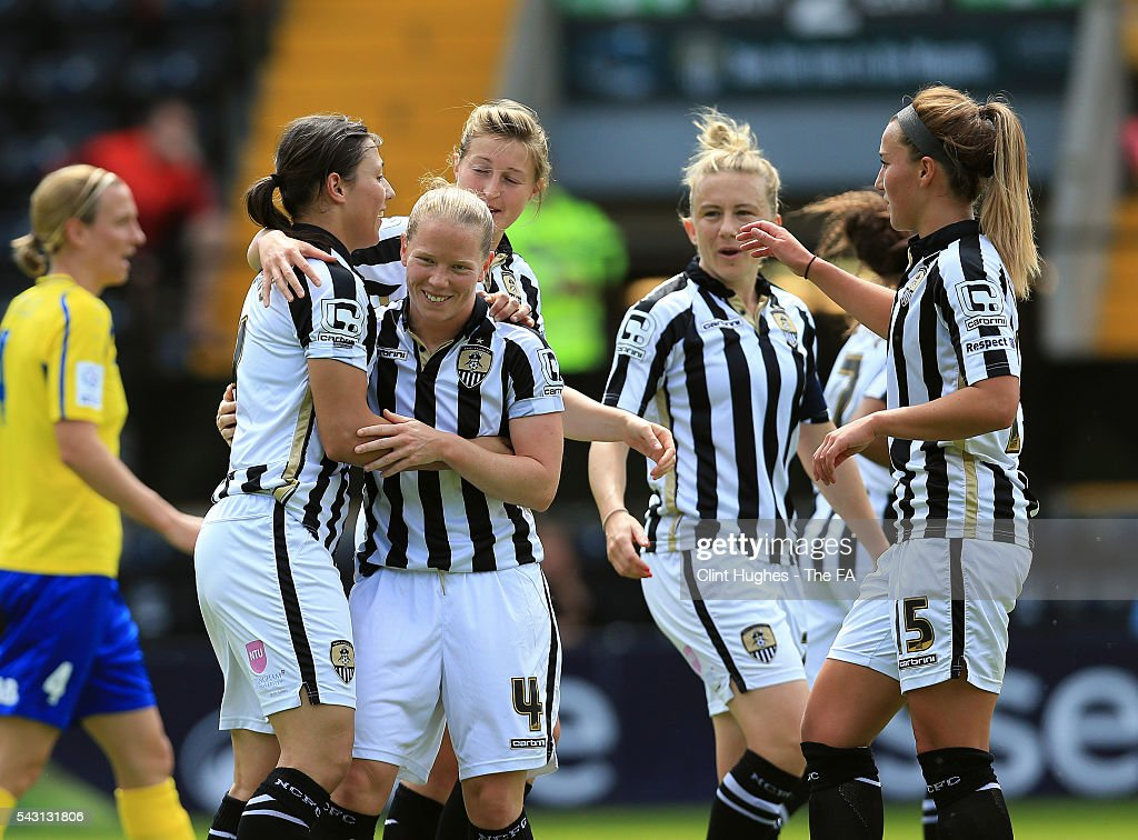 <a gi-track='captionPersonalityLinkClicked' href=/galleries/search?phrase=Rachel+Williams+-+Soccer+Player&family=editorial&specificpeople=7901324 ng-click='$event.stopPropagation()'>Rachel Williams</a> (L) of Notts County Ladies FC celebrates with team-mate Dani Buet after she scores the first goal of the game for her side during the FA WSL 1 match between Notts County Ladies FC and Doncaster Rovers Belles at the Meadow Lane Stadium on June 26, 2016 in Nottingham, England