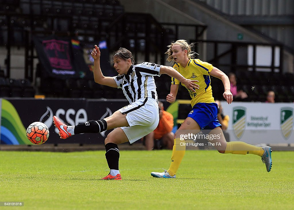 <a gi-track='captionPersonalityLinkClicked' href=/galleries/search?phrase=Rachel+Williams+-+Soccer+Player&family=editorial&specificpeople=7901324 ng-click='$event.stopPropagation()'>Rachel Williams</a> (L) of Notts County Ladies FC scores the first goal of the game for her side during the FA WSL 1 match between Notts County Ladies FC and Doncaster Rovers Belles at the Meadow Lane Stadium on June 26, 2016 in Nottingham, England