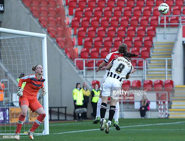 Rachel Williams of Notts Ladies County FC attempts to head a goal during the WSL Continental Cup Final between Arsenal Ladies FC and Notts County...