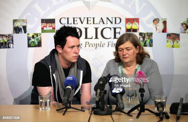 Rachel Wilson's brother Carl and mother Tina at a press conference at Cleveland Police HQ in Middlesbrough where they made a emotional plea after...