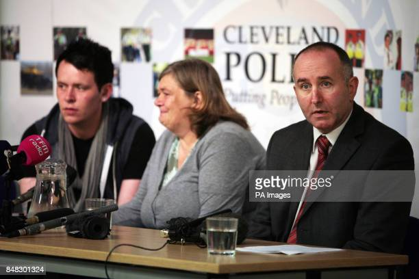 Rachel Wilson's brother Carl mother Tina and Temporary Detective Superintendent Peter McPhillips of Cleveland Police at a press conference at their...