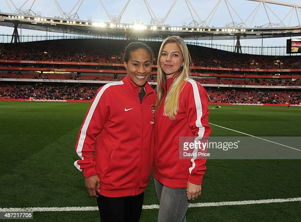 Rachel Yankey and Anouk Hoogendijk of the Arsenal Ladies before the match between Arsenal and Newcastle United in the Barclays Premier League at...