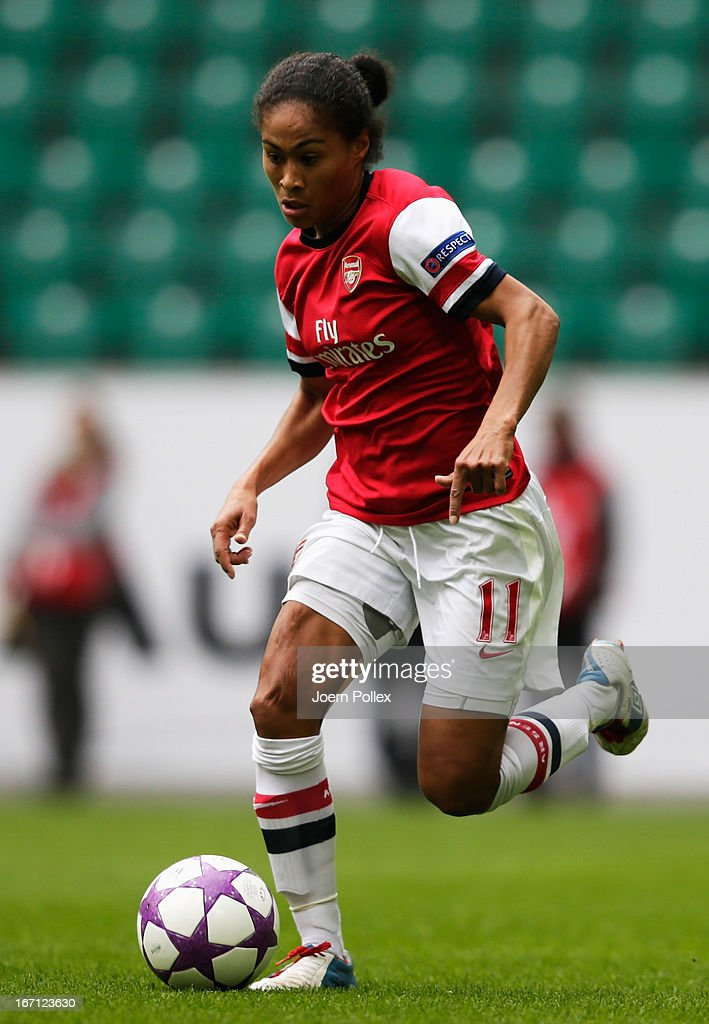 <a gi-track='captionPersonalityLinkClicked' href=/galleries/search?phrase=Rachel+Yankey&family=editorial&specificpeople=235431 ng-click='$event.stopPropagation()'>Rachel Yankey</a> of Arsenal controls the ball during the Women's Champions League semi-final second leg match between VfL Wolfsburg and Arsenal Ladies FC at Volkswagen Arena on April 21, 2013 in Wolfsburg, Germany.
