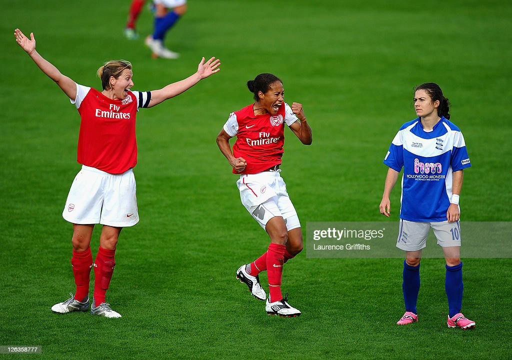 Rachel Yankey of Arsenal Ladies celebrates the fourth goal in front of Jayne Ludlow (l) and Karen Carney of Birmingham City during the FA WSL Continental Cup Final between Birmingham City Ladies FC v Arsenal Ladies FC on September 25, 2011 in Burton-upon-Trent, England.