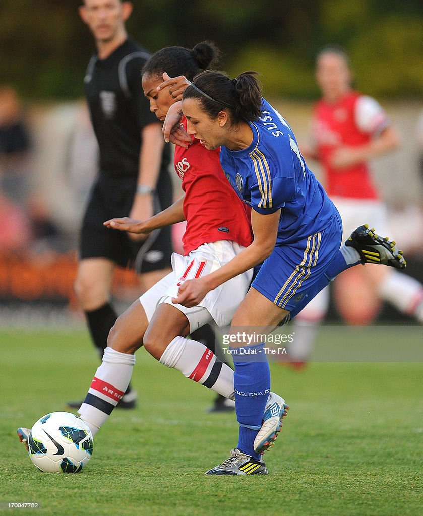 <a gi-track='captionPersonalityLinkClicked' href=/galleries/search?phrase=Rachel+Yankey&family=editorial&specificpeople=235431 ng-click='$event.stopPropagation()'>Rachel Yankey</a> of Arsenal Ladies FC (L) and <a gi-track='captionPersonalityLinkClicked' href=/galleries/search?phrase=Dunia+Susi&family=editorial&specificpeople=5960512 ng-click='$event.stopPropagation()'>Dunia Susi</a> of Chelsea Ladies FC battle for the ball during the FA WSL match between Arsenal Ladies FC and Chelsea Ladies FC at Meadow Park on June 06, 2013 in Borehamwood, England.