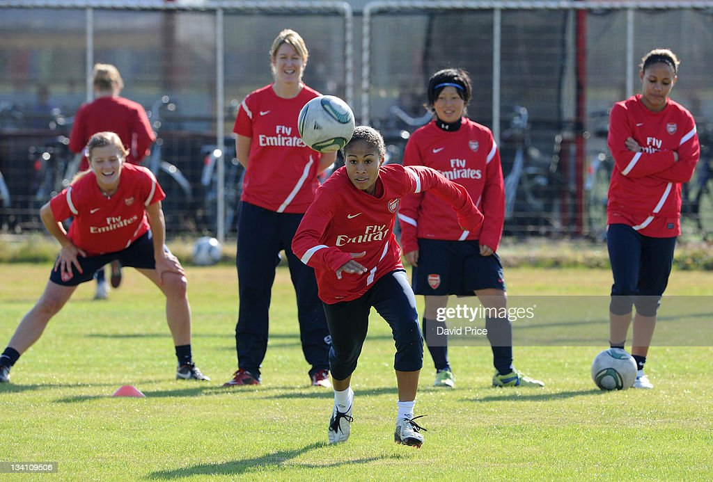 Rachel Yankey of Arsenal Ladies FC during a training session at Redsland Sports Park on November 26, 2011 in Tokyo, Japan.