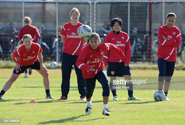 Rachel Yankey of Arsenal Ladies FC during a training session at Redsland Sports Park on November 26 2011 in Tokyo Japan