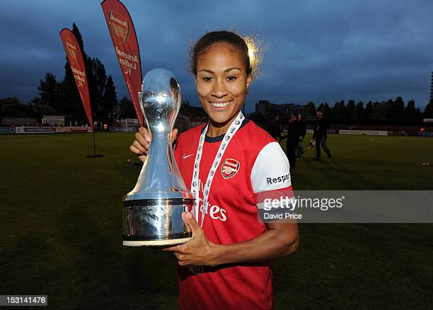 Rachel Yankey of Arsenal with the WSL Trophy after the FA Women's Super League match between Arsenal Ladies FC and Doncaster Rovers Belles Ladies FC...