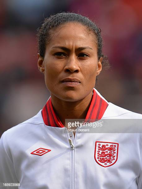 Rachel Yankey of England before the Women's International Match between England Women and Canada Women at The New York Stadium on April 7 2013 in...