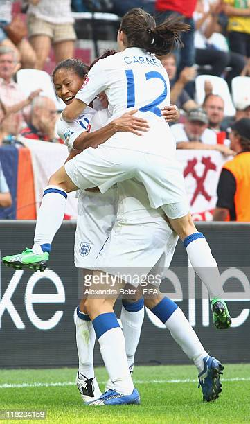 Rachel Yankey of England celebrates her first goal together with teammate Karen Carney during the FIFA Women's World Cup 2011 group B match between...