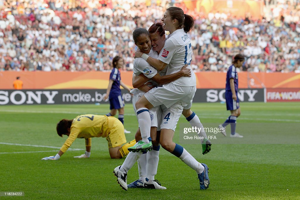Rachel Yankey of England celebrates her goal during the FIFA Women's World Cup Group B match between England and Japan at FIFA World Cup stadium Augsburg on July 5, 2011 in Augsburg, Germany.