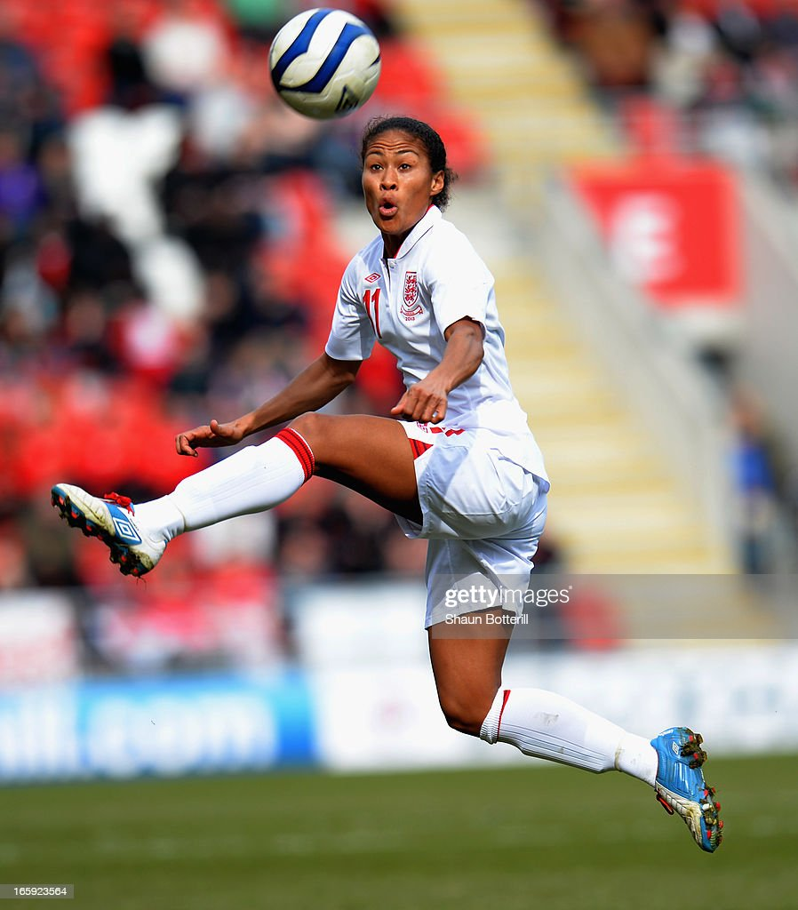 <a gi-track='captionPersonalityLinkClicked' href=/galleries/search?phrase=Rachel+Yankey&family=editorial&specificpeople=235431 ng-click='$event.stopPropagation()'>Rachel Yankey</a> of England during the Women's International Match between England Women and Canada Women at The New York Stadium on April 7, 2013 in Rotherham, England.