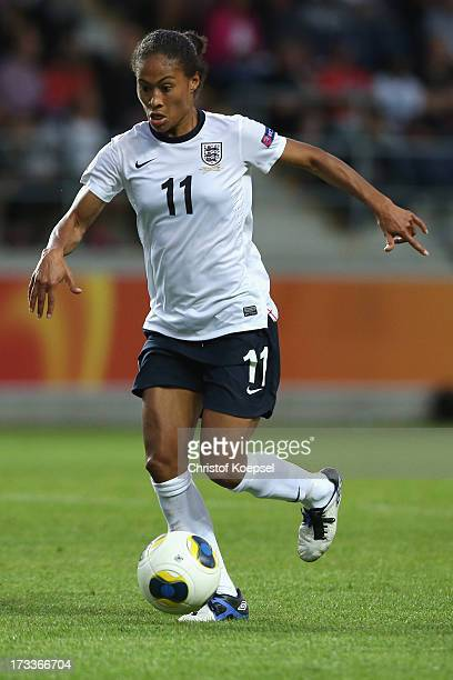 Rachel Yankey of England runs with the ball during the UEFA Women's EURO 2013 Group C match between England and Spain at Linkoping Arena on July 12...