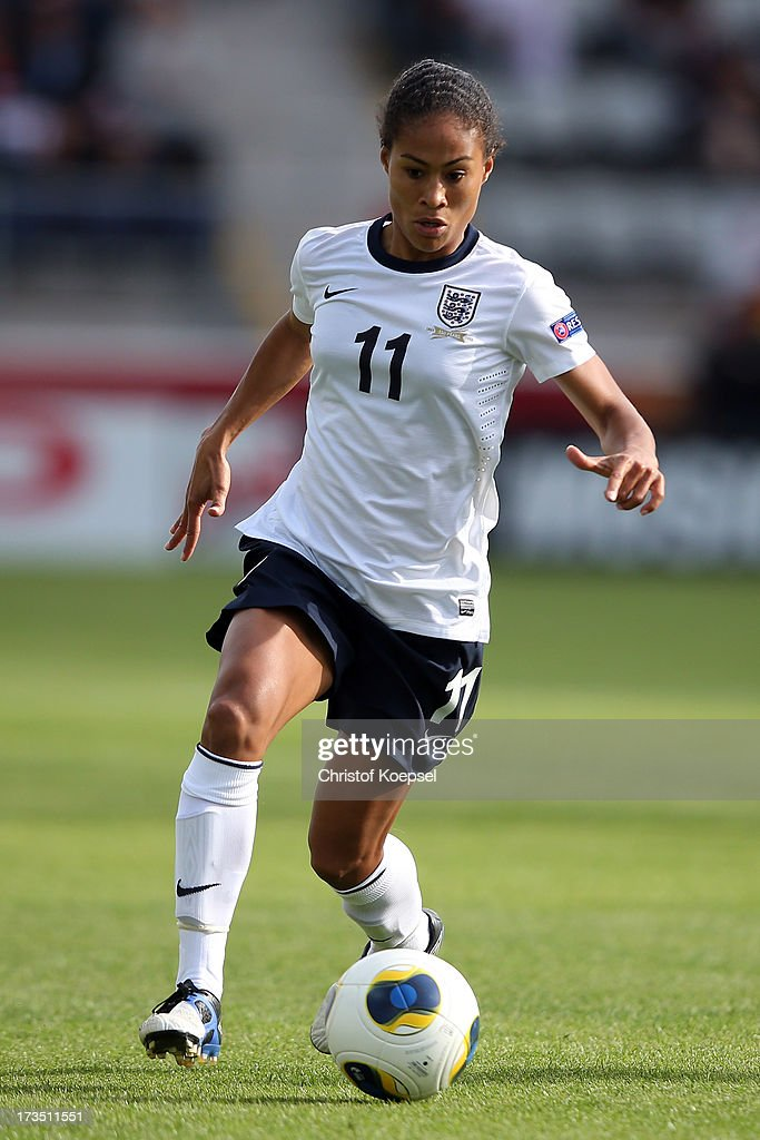 Rachel Yankey of England runs with the ball during the UEFA Women's EURO 2013 Group C match between England and Russia at Linkoping Arena on July 15, 2013 in Linkoping, Sweden.