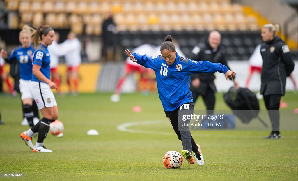Rachel Yankey of Notts County Ladies FC warms up prior to kick off for the match between Notts County Ladies FC v Liverpool Ladies FC on May 2, 2016 in Nottingham, England.