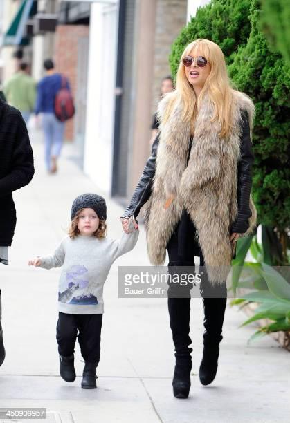 Rachel Zoe and her son Skyler Berman are seen on November 20 2013 in Los Angeles California