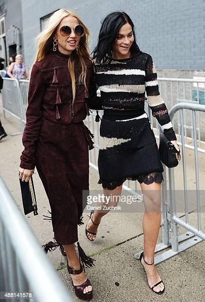 Rachel Zoe and Leigh Lezark are seen outside the DVF show on September 13 2015 in New York City