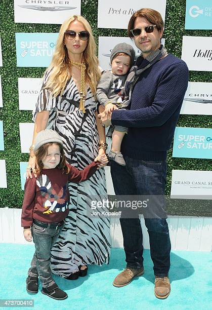 Rachel Zoe husband Rodger Berman and children arrive at the Ovarian Cancer Research Fund's 2nd Annual Super Saturday LA at Barker Hangar on May 16...